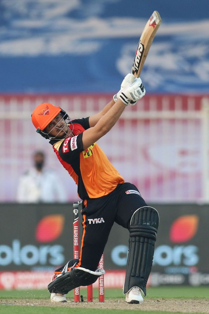 Abdul Samad breaks a long-time high during a match against the Mumbai Indians on October 4, 2020 in Sharjah