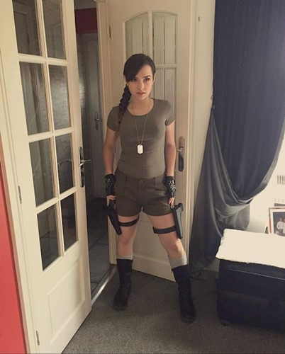NYYXXII dressed up as the movie and PC game character Tomb Raider